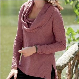 Prana Ginger Cowl Neck Pullover Top Dusty Rose